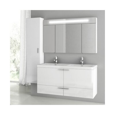 New Space 47 Double Bathroom Vanity Set Base Finish: Glossy White