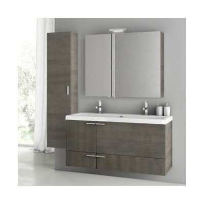 New Space 47 Double Bathroom Vanity Set Base Finish: Gray Oak