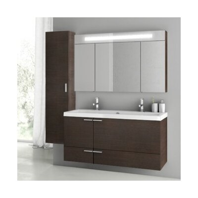 New Space 47 Double Bathroom Vanity Set Base Finish: Wenge