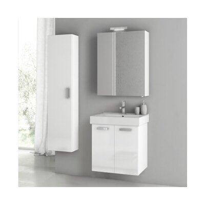 Cubical 2 24 Single Bathroom Vanity Set Base Finish: Glossy White