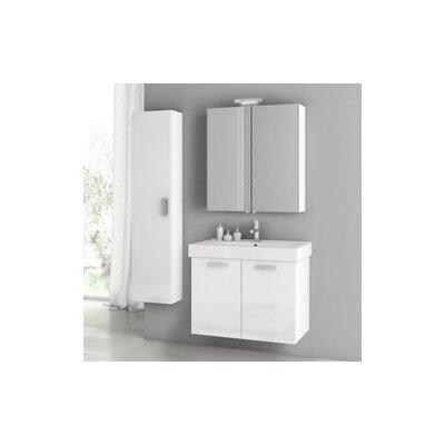 Furniture-Cubical 2 30 Single Bathroom Vanity Set Base Finish Glossy White