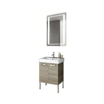Cubical 24 Single Bathroom Vanity Set with Mirror Base Finish: Larch Canapa