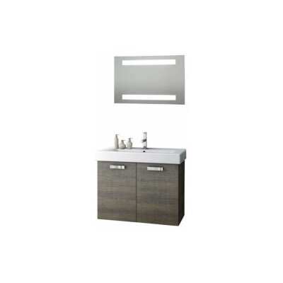 Cubical 30 Single Bathroom Vanity Set with Mirror Base Finish: Gray Oak