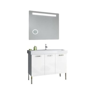 Cubical 41 Single Bathroom Vanity Set with Mirror Base Finish: Gray Oak