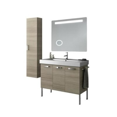 Cubical 41 Single Bathroom Vanity Set with Mirror Base Finish: Glossy White
