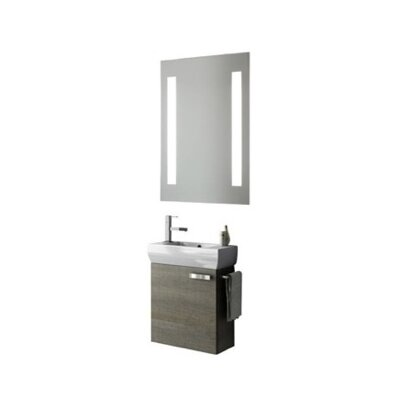 Cubical 20 Single Bathroom Vanity Set with Mirror Base Finish: Gray Oak