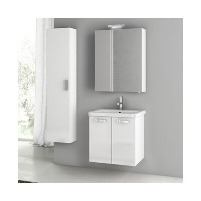 City Play 24 Single Bathroom Vanity Set Base Finish: Glossy White