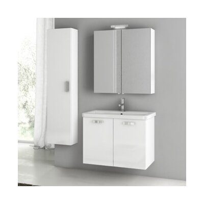 City Play 32 Single Bathroom Vanity Set Base Finish: Glossy White
