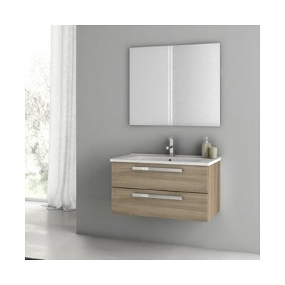 Dadila 34 Single Bathroom Vanity Set with Mirror Base Finish: Gray Oak