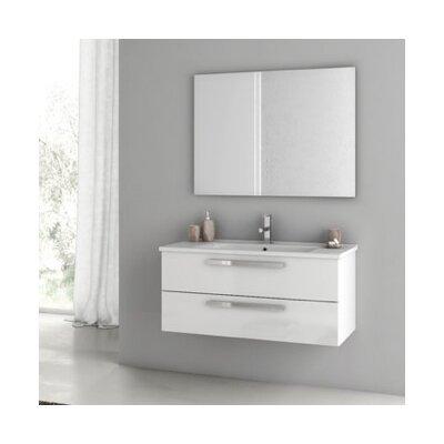 Dadila 39 Single Bathroom Vanity Set with Mirror Base Finish: Glossy White