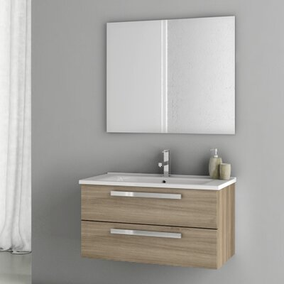 Dadila 32.7 Single Bathroom Vanity Set with Mirror Base Finish: Style Oak