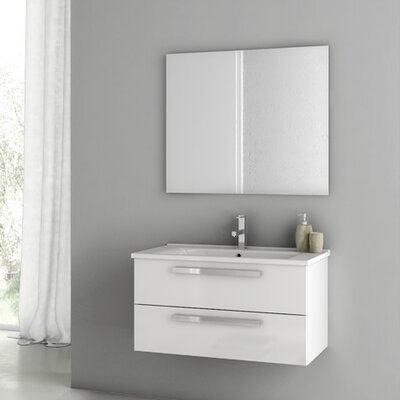 Dadila 32.7 Single Bathroom Vanity Set with Mirror Base Finish: Glossy White