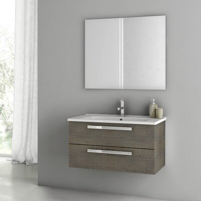 Dadila 32.7 Single Bathroom Vanity Set with Mirror Base Finish: Gray Oak Senlis