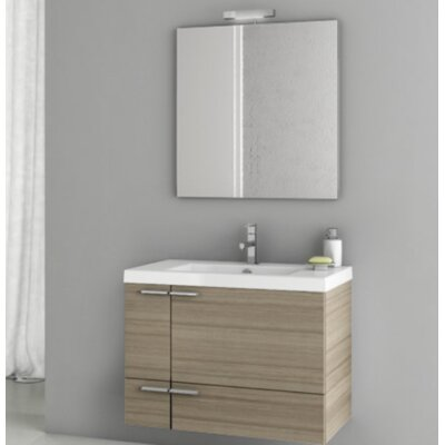 New Space 31.3 Single Bathroom Vanity Set with Mirror Base Finish: Larch Canapa