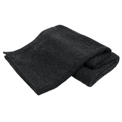 Hobart Machine Washable Australian Wool Blend Blanket Color: Black, Size: Twin