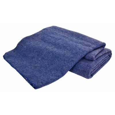 Hobart Machine Washable Australian Wool Blend Blanket Color: Denim, Size: King