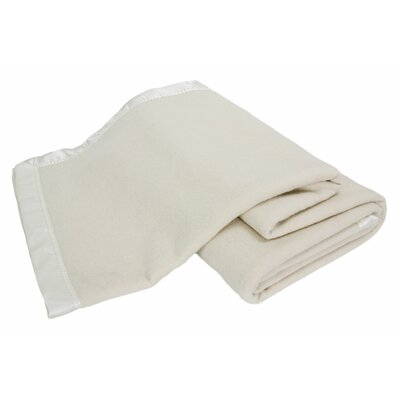 Luxurious All-Natural  100% Australian Merino Wool Blanket Color: Cream Satin, Size: Full / Queen