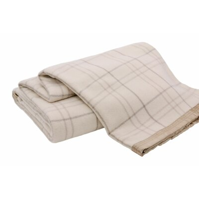 Luxurious All-Natural  100% Australian Merino Wool Blanket Size: King, Color: Ivory Check