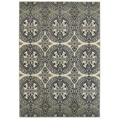 Newsome Oriental Medallion Navy Area Rug Rug Size: Rectangle 53 x 76
