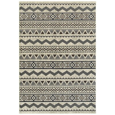 Fletcher Tribal Lines Gray Area Rug Rug Size: 910 x 1210