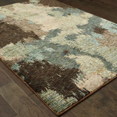 Knox Blue/Brown Area Rug Rug Size: 33 x 52