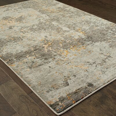 Knox Marbled Stone Gray/Gold Area Rug Rug Size: 110 x 32