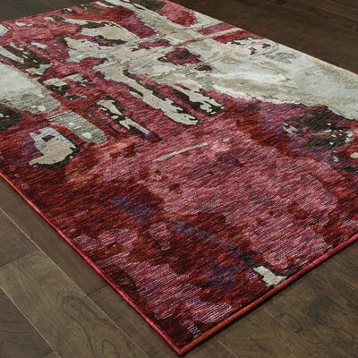 Knox Bordeaux Red/Beige Area Rug Rug Size: 33 x 52