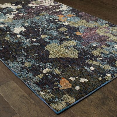 Knox Dappled Night Navy/Green Area Rug Rug Size: 110 x 32