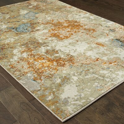 Knox Marble Gold/Beige Area Rug Rug Size: Rectangle 110 x 32