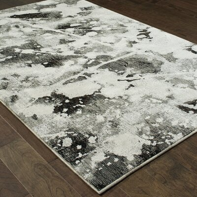 Knox Shadows Charcoal/White Area Rug Rug Size: Rectangle 53 x 73