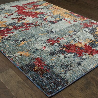 Knox Aged Stone Blue/Red Area Rug Rug Size: 110 x 32