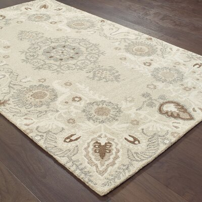 Baddesley Hand-Hooked Wool Sand/Ash Area Rug Rug Size: Rectangle 8 X 10