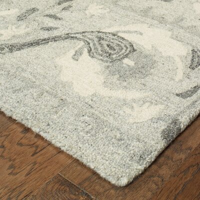 Alys Hand-Hooked Wool Ash/Ivory Area Rug Rug Size: 10 X 13