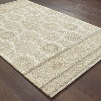 Baddesley Blooms Hand-Hooked Wool Ash Area Rug Rug Size: Rectangle 5 X 8