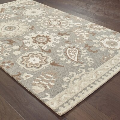 Baddesley Blooming Gardens Hand-Hooked Wool Gray/Sand Area Rug Rug Size: Rectangle 36 X 56