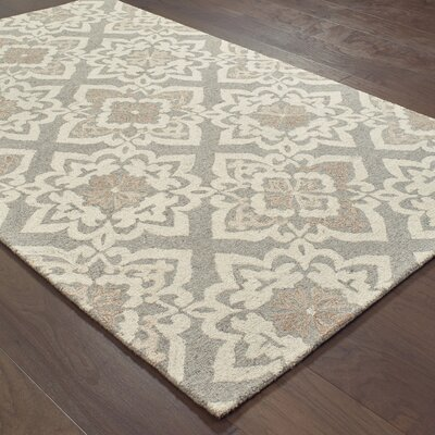 Alys Hand-Hooked Wool Gray Area Rug Rug Size: 5 X 8