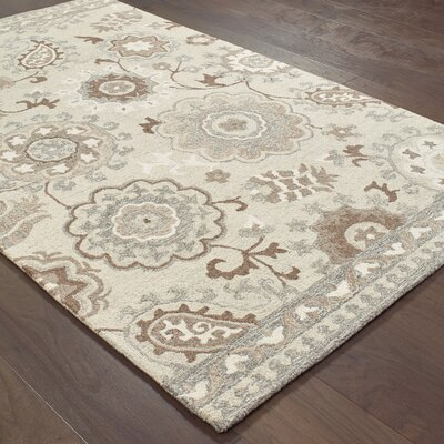 Baddesley Blooming Gardens Hand-Hooked Wool Ivory Area Rug Rug Size: Rectangle 5 X 8