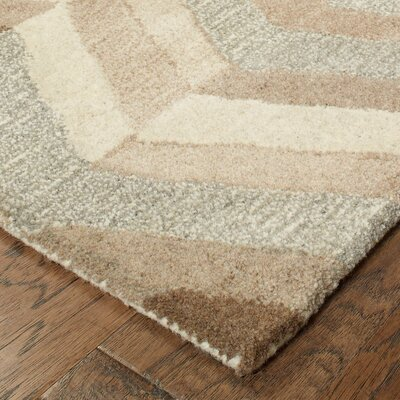 Frank Hand-Tufted Wool Beige Area Rug Rug Size: 36 X 56