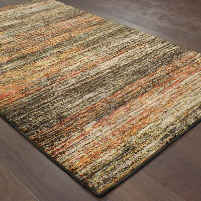 Bobby Gold/Charcoal Area Rug Rug Size: Rectangle 53 x 73