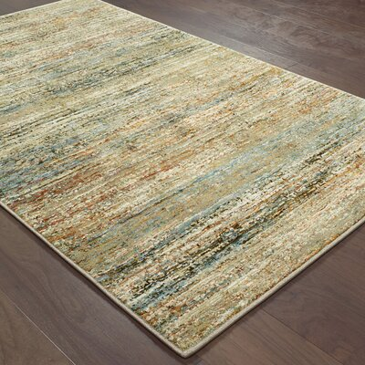 Bobby Gold/Green Area Rug Rug Size: 5'3