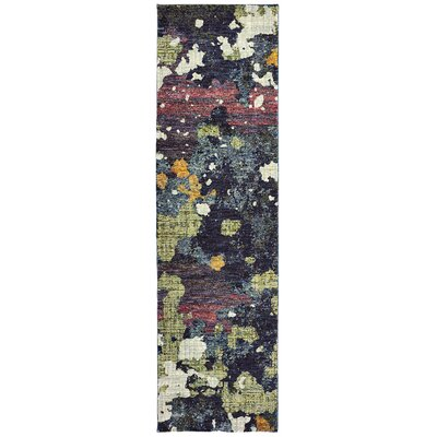 Knox Dappled Night Navy/Green Area Rug Rug Size: Runner 23 x 8