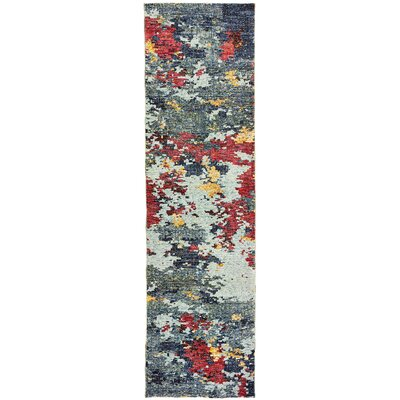 Knox Aged Stone Blue/Red Area Rug Rug Size: Runner 23 x 8