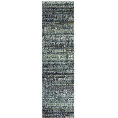Bobby Blue/Gray Area Rug Rug Size: Runner 23 x 8