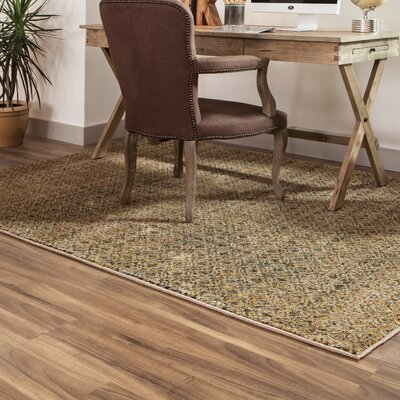 Bobby Green/Gold Area Rug Rug Size: Rectangle 53 x 73