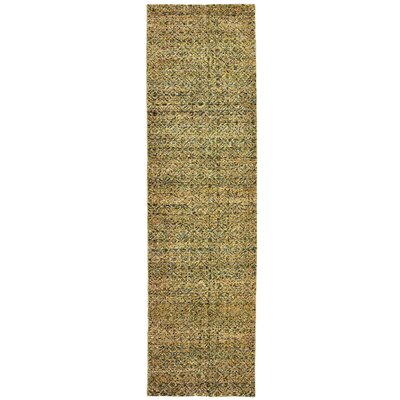 Bobby Green/Gold Area Rug Rug Size: Runner 23 x 8