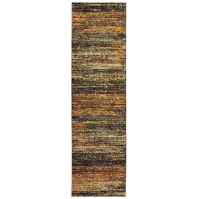 Bobby Gold/Charcoal Area Rug Rug Size: Runner 23 x 8