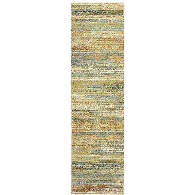 Bobby Gold/Green Area Rug Rug Size: Runner 23 x 8