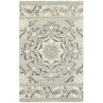 Alys Hand-Hooked Wool Ash/Ivory Area Rug Rug Size: Rectangle 5 X 8