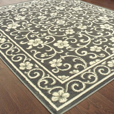 Dartington Floral Vine Gray/Ivory Area Rug Rug Size: Rectangle 53 X 7