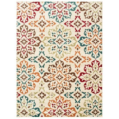 Kleinman all Over Floral Medallion Ivory Area Rug Rug Size: Rectangle 53 X 7
